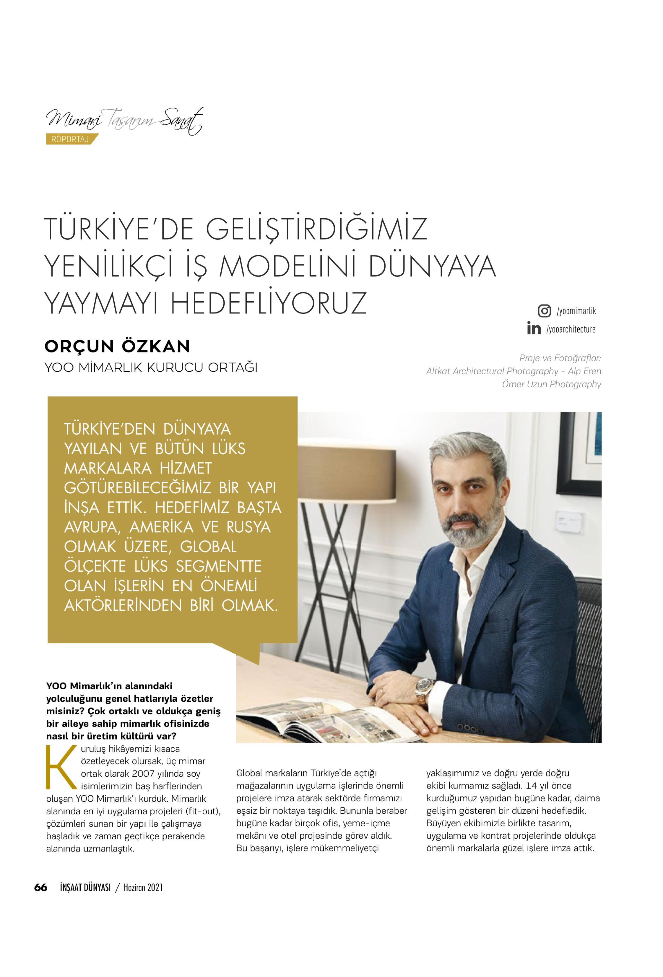 İnşaat Dünyası Dergisi / YOO Mimarlık